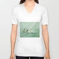 sail V-neck T-shirts featuring Sail by Mary Kilbreath
