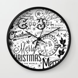 Black and White Christmas Typography Design Wall Clock
