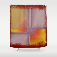 record Shower Curtains featuring Fractured Record by Petellgra