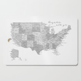 Anywhere with you, USA map in grayscale Cutting Board