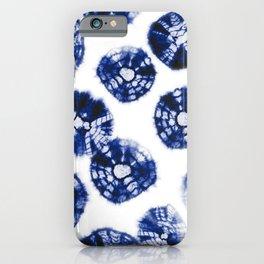 Shibori Kumo dots blue & white iPhone Case