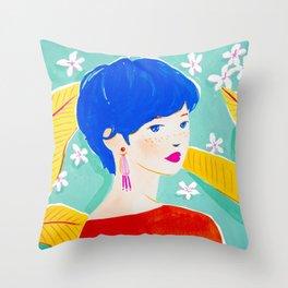 Short Hair Girl in Red Throw Pillow