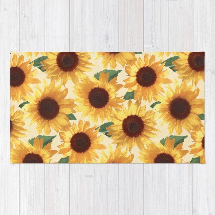 Happy Yellow Sunflowers Rug