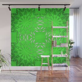 Green Color Burst Floral Wall Mural