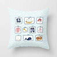 pirates Throw Pillows featuring Pirates by Jill Byers