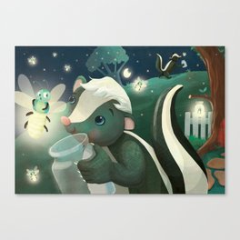 Skunks and Fireflies Canvas Print
