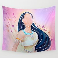 pocahontas Wall Tapestries featuring Pocahontas - Colors of the Wind by Brietron Art