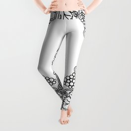 Abstract floral frame Leggings