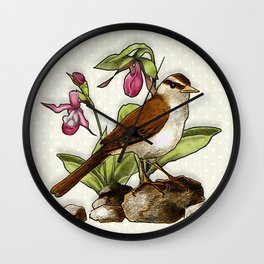 Sparrow Bird with Ladyslipper Flowers Wall Clock