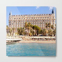 The Always Chic Carlton Hotel in Cannes Metal Print