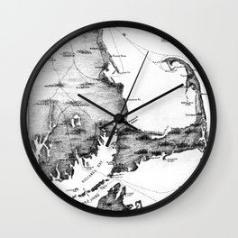 Vintage Map of Cape Cod (1885) BW Wall Clock