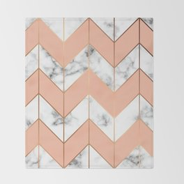 Marble texture, seamless pattern design with golden geometric lines Throw Blanket