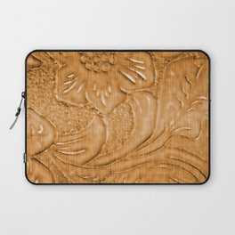 Golden Tan Tooled Leather Laptop Sleeve