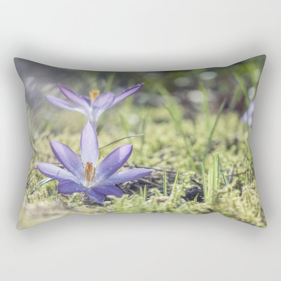 Queen and King - Crocus in a meadow - Spring Rectangular Pillow