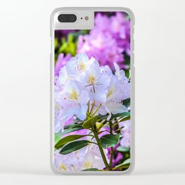 White and Purple Flowers Clear iPhone Case