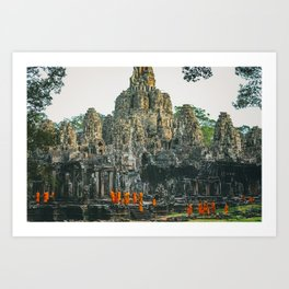 Unidentified Buddist monks from Thailand at one of the temple of Bayon Temple .Buddhism is currently Art Print