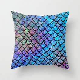 Colorful Mermaid Scales Throw Pillow