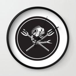 Skull Mahi Mahi Dolphin Fish Crossed Spears Circle Retro Wall Clock