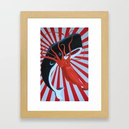 squid and whale Framed Art Print