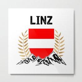 Linz Austria Alps TShirt Austria Flag Shirt Austrian Alps Gift Idea  Metal Print