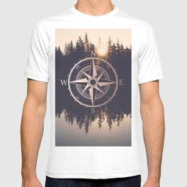 Rose Gold Compass Forest T-shirt