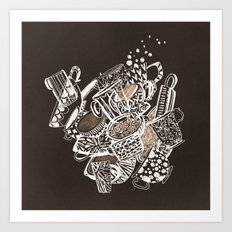 Teacup extravaganzza. Illustration wall art Art Print