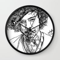 harry styles Wall Clocks featuring Harry Styles by Hollie B
