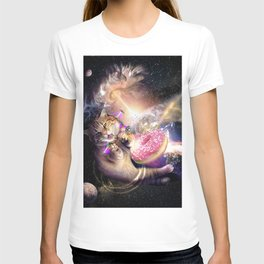 Galaxy Space Cat Reaching Donut With Laser T-shirt