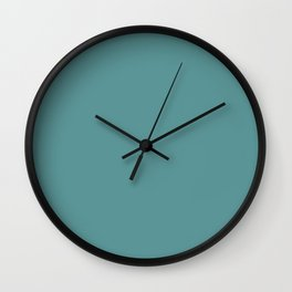 Restful Dark Pastel Aquamarine Blue Green Solid Color Pairs To Sherwin Williams Cloudburst SW 6487 Wall Clock