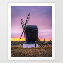 Windmill at Sunset 2 Art Print