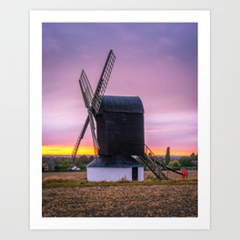 Windmill at Sunset 2 Art Print