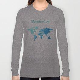 watercolor world map Long Sleeve T-shirt