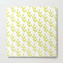 Green Leaf Pattern Metal Print