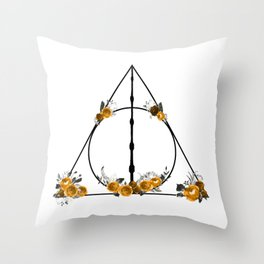 Deathly Hallows in Gold and Gray Throw Pillow