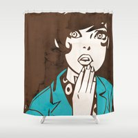 60s Shower Curtains featuring 60s Girl by Ed Pires