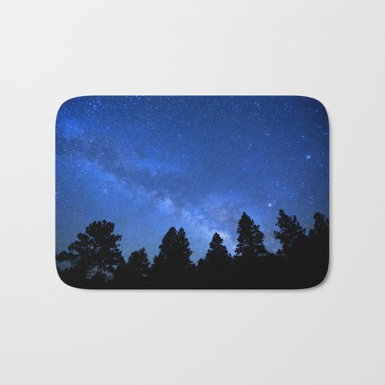 Milky Way (Black Trees Blue Space) Bath Mat