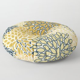 Floral Prints, Abstract Art, Navy Blue and Mustard Yellow, Coloured Prints Floor Pillow