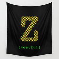 jay z Wall Tapestries featuring #Z [zestful] by bravo la fourmi