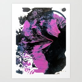 Munich: an abstract painting in black fuschia and purple by Alyssa Hamilton Art Art Print