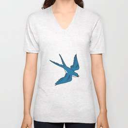 Swallow Flying Down Drawing Unisex V-Neck