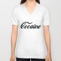 cocaine V-neck T-shirts featuring Cocaine by Jeef