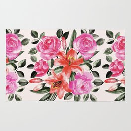 Roses and Lilies in watercolor Rug