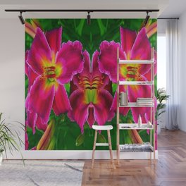CERISE PINK LILY FLOWERS GREEN ABSTRACT Wall Mural