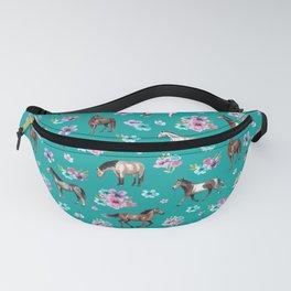 Horse Pattern, Floral Print, Turquoise, Little Girls Room, Horses Fanny Pack
