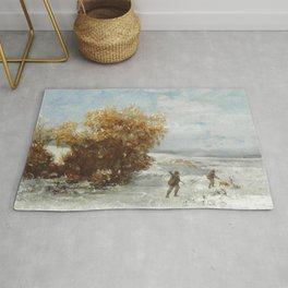 """Gustave Courbet """"Chasseurs dans le neige (Hunters in the snow)"""" Rug"""
