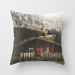 Sheep on the roof Throw Pillow