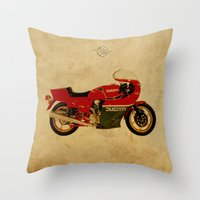 ducati Throw Pillows featuring Ducati 900 MHR 1980 by Larsson Stevensem