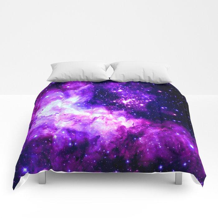 Purple Galaxy : Celestial Fireworks Comforters