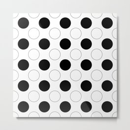 Polka Dots in Black and White Metal Print