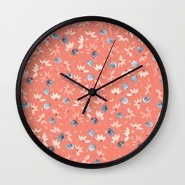 Spring Floral - Coral Wall Clock
